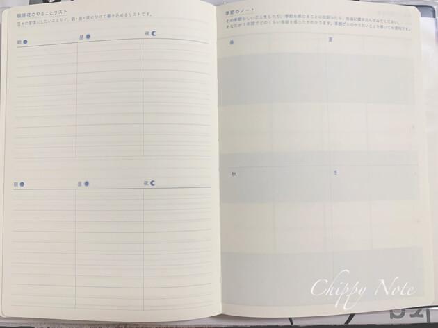朝昼夜のやることリスト・季節のノート
