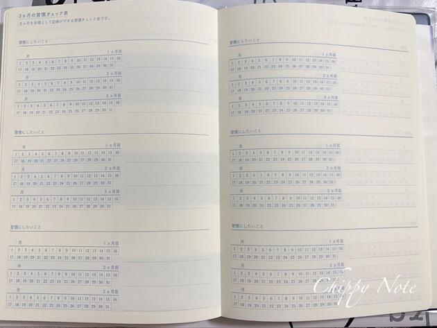 3ヶ月の週間チェック表